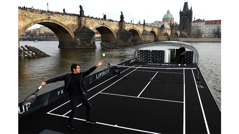 1/10  Roger Federer and Thomas Berdych Opening The Laver cup in Prague