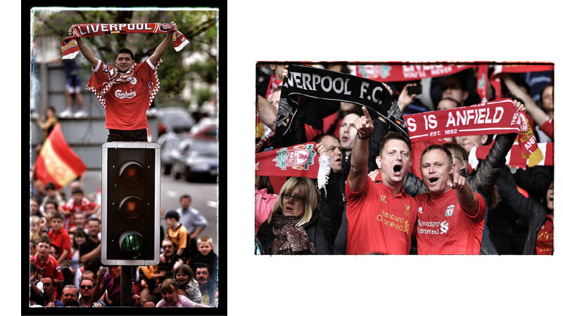 14/41 Liverpool fans, Liverpool, England 2001 and Anfield 2013