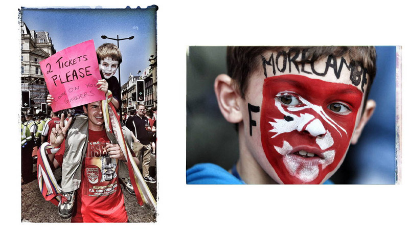 13/38 Arsenal Fans, Cardiff, Wales 2001; A young Morecambe fan, Morecambe, England 2011