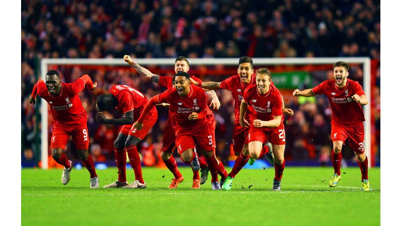 7/136 Liverpool Celebrate a penalty shoot out, Anfield, 2016